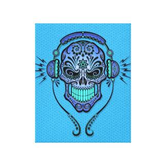 DJ azul azucara el cráneo Impresiones En Lona