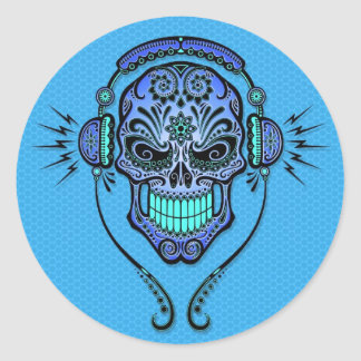 DJ azul azucara el cráneo Pegatina Redonda