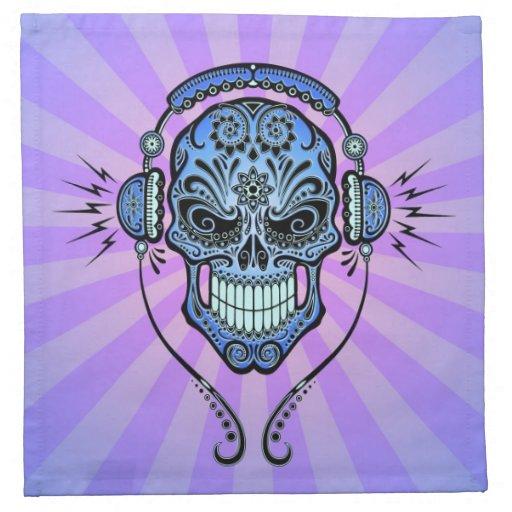 DJ azul y púrpura azucara el cráneo con los rayos  Servilletas