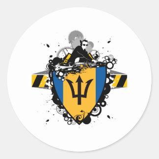 DJ Barbados Round Stickers