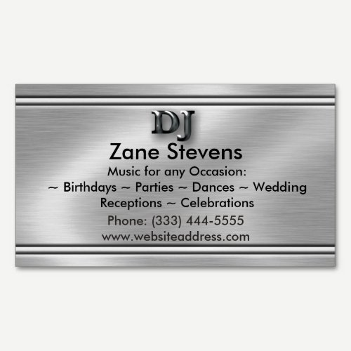 DJ Brushed Silver Chrome Business Card Magnet