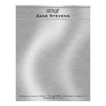 DJ Brushed Silver Chrome Letterhead