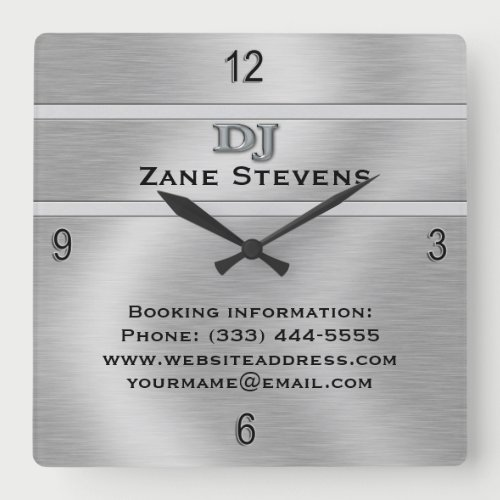 DJ Brushed Silver Chrome Wall Clock