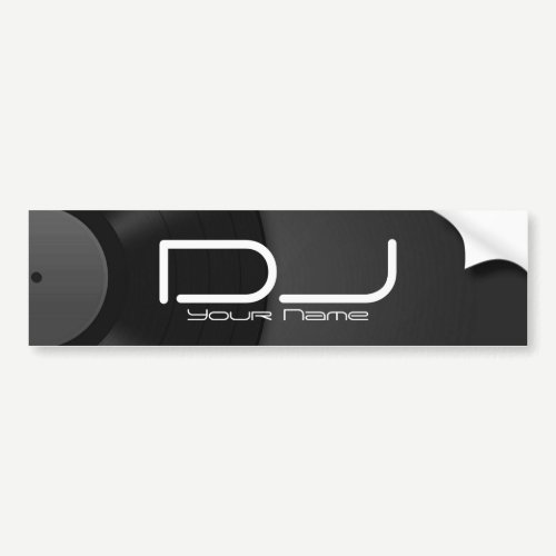 DJ Bumper Sticker with Vinyl Background