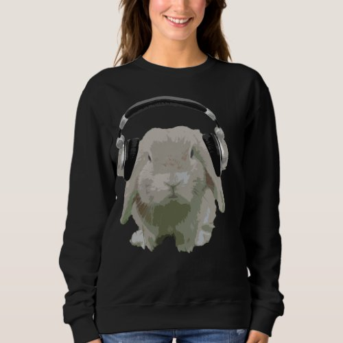 DJ Bunny Rabbit With Headphones Fun Music Lover Sweatshirt