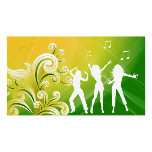 Dj Business Card Music Green Yellow Retro Dance