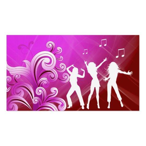 Dj Business Card Music Pink Red Retro Dance