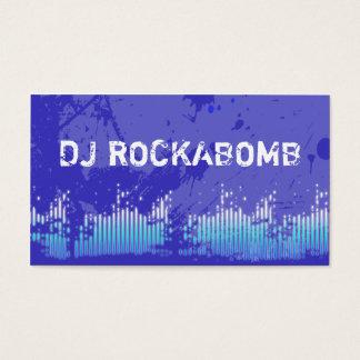 Dj Business Cards Blue Music Bars Grunge
