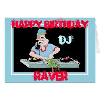 DJ cartoon happy birtday raver card
