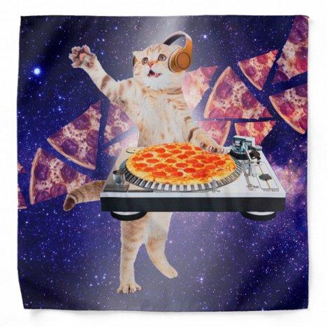 dj cat - cat dj - space cat - cat pizza bandana
