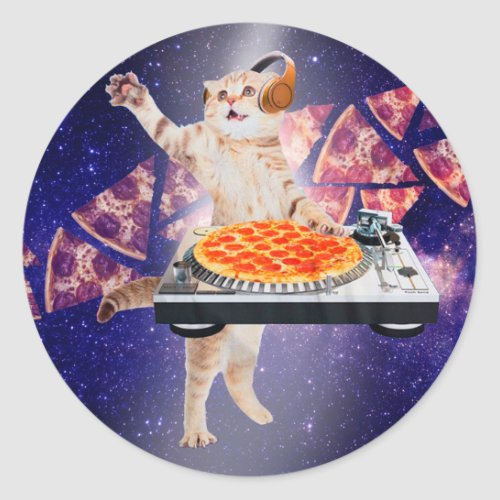 dj cat - cat dj - space cat - cat pizza classic round sticker