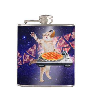 dj cat - cat dj - space cat - cat pizza flask
