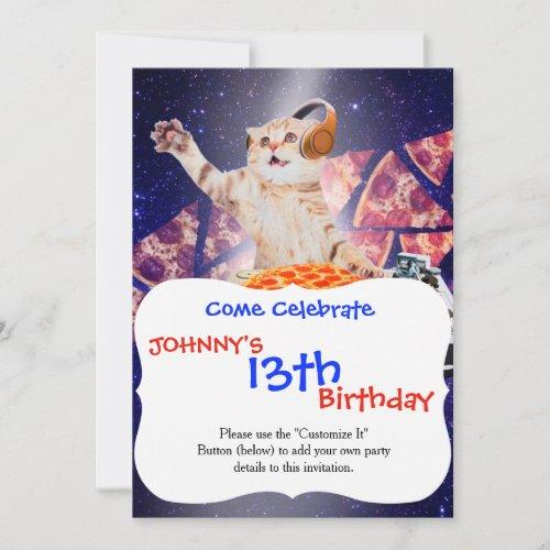 dj cat - cat dj - space cat - cat pizza invitation
