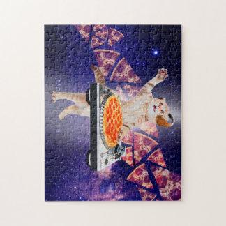 dj cat - cat dj - space cat - cat pizza jigsaw puzzle