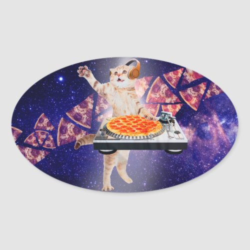 dj cat - cat dj - space cat - cat pizza oval sticker