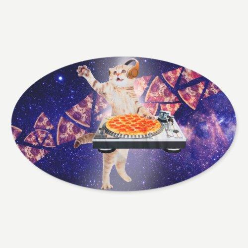 dj cat - cat dj - space cat - cat pizza oval sticker