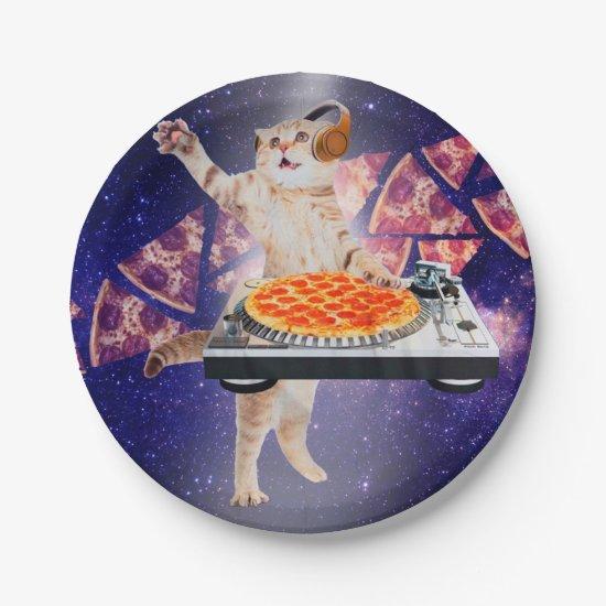 dj cat - cat dj - space cat - cat pizza paper plate