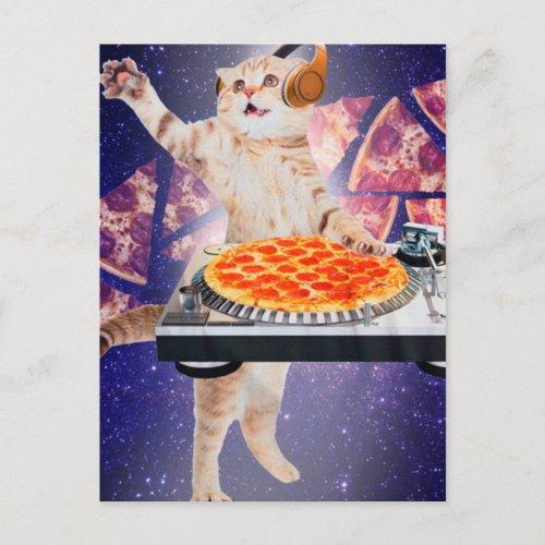 dj cat - cat dj - space cat - cat pizza postcard