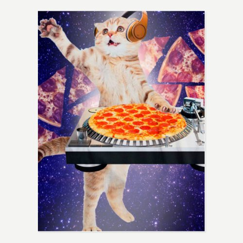 dj cat - cat dj - space cat - cat pizza postcard