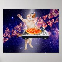 dj cat - cat dj - space cat - cat pizza poster