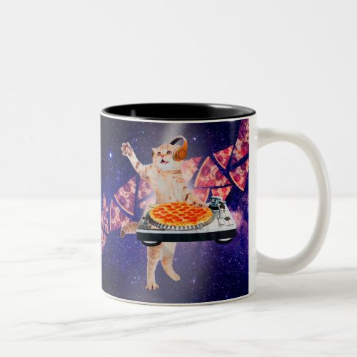 dj cat - cat dj - space cat - cat pizza Two-Tone coffee mug
