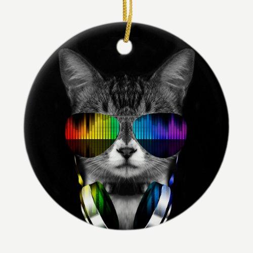 Dj cat - cat headphones - cat sounds ceramic ornament
