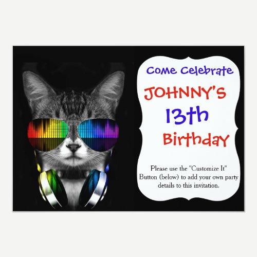 Dj cat - cat headphones - cat sounds invitation