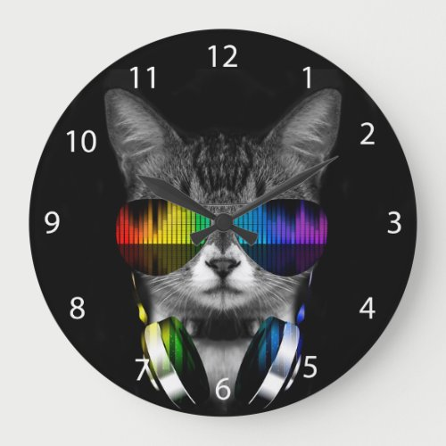 Dj cat - cat headphones - cat sounds large clock