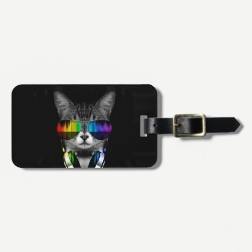 Dj cat - cat headphones - cat sounds luggage tag