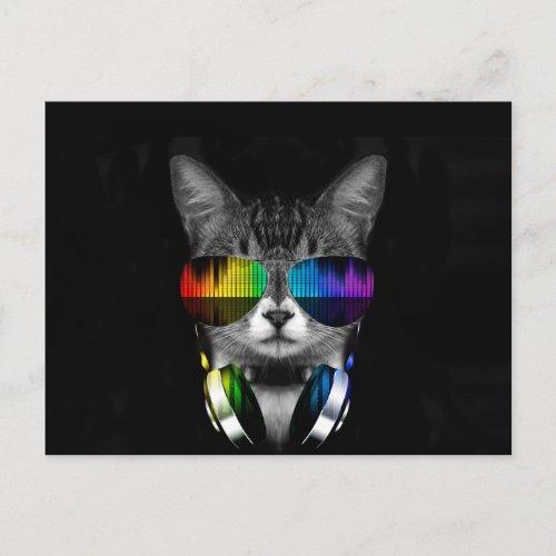 DJ cat - cat headphones - cat sounds Postcard