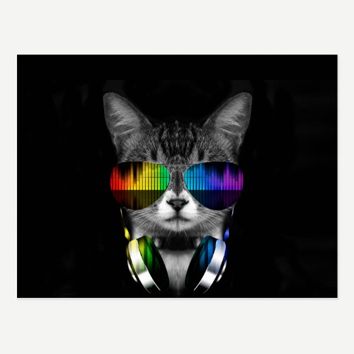 Dj cat - cat headphones - cat sounds postcard