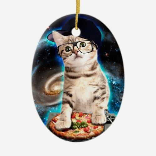 dj cat - space cat - cat pizza - cute cats ceramic ornament