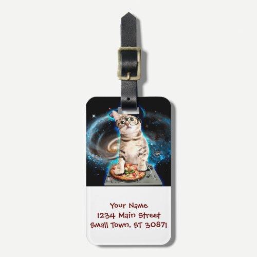 dj cat - space cat - cat pizza - cute cats luggage tag