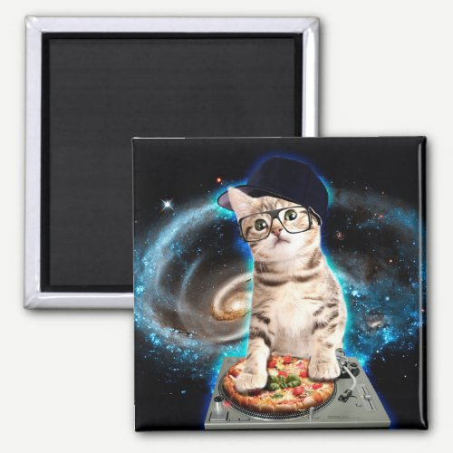 dj cat - space cat - cat pizza - cute cats magnet