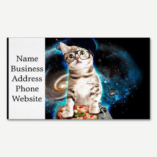 dj cat - space cat - cat pizza - cute cats magnetic business card