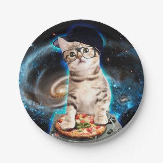 dj cat - space cat - cat pizza - cute cats paper plate