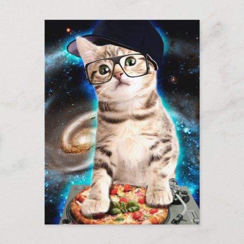 dj cat - space cat - cat pizza - cute cats postcard
