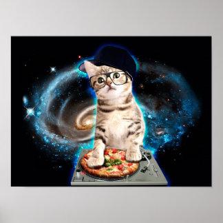 dj cat - space cat - cat pizza - cute cats poster