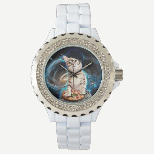 dj cat - space cat - cat pizza - cute cats wrist watch