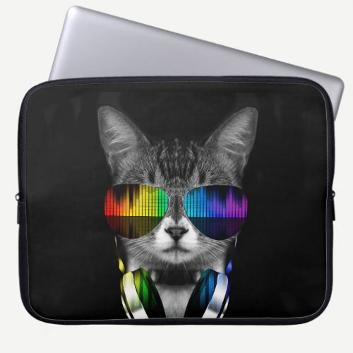 DJ cat with sunglasses and headphones Laptop Sleeve