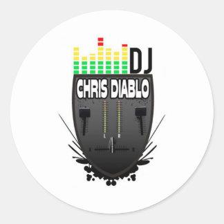 DJ CHRIS DIABLO LOGO 1 CLASSIC ROUND STICKER
