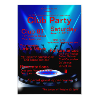 "DJ Club Party Invitation 5"" X 7"" Invitation Card"