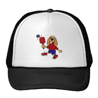 DJ- Cocker Spaniel Playing Pickleball Cartoon Trucker Hat