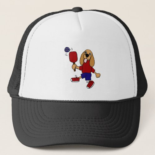DJ- Cocker Spaniel Playing Pickleball Cartoon Trucker Hat