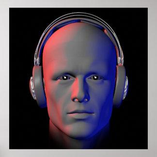 DJ con el poster del ejemplo de los auriculares