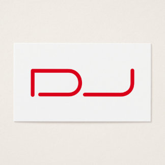DJ Contemporary Stylish White Red Business Card