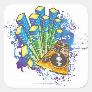 DJ Control Panel Square Sticker