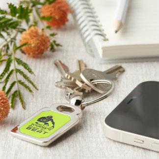 DJ custom color & monogram key chain Silver-Colored Rectangle Key Ring