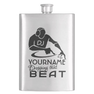 DJ custom monogram flask