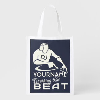 DJ custom name & color reusable bag Reusable Grocery Bag